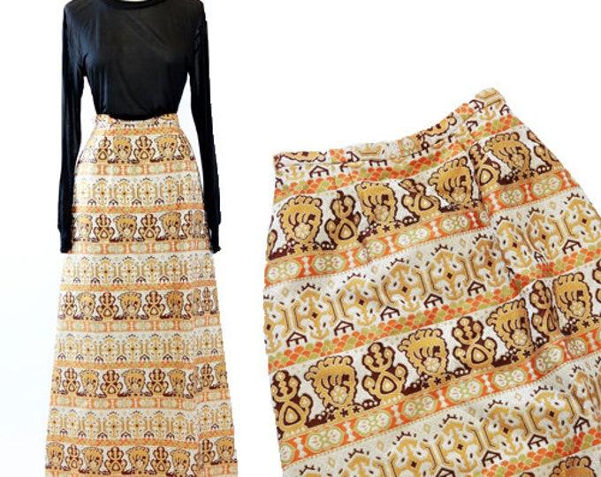 EDDY GEORGE EG tapestry skirt | Vintage 60s lurex metallic gold maxi skirt