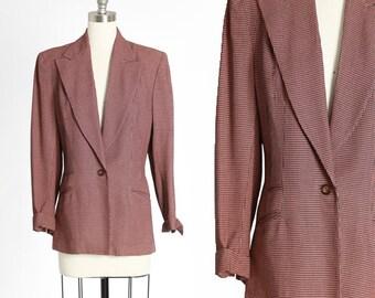 Lady Barrington 40s blazer | Vintage 40s salmon houndstooth woven blazer |  1940s dress suit coat