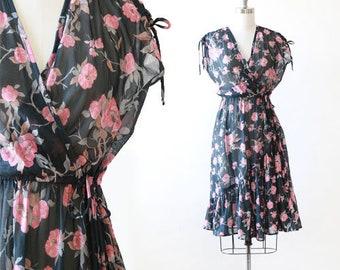 Wild Honey California dress   Vintage 70s sheer floral ruffle midi dress   boho festival dress