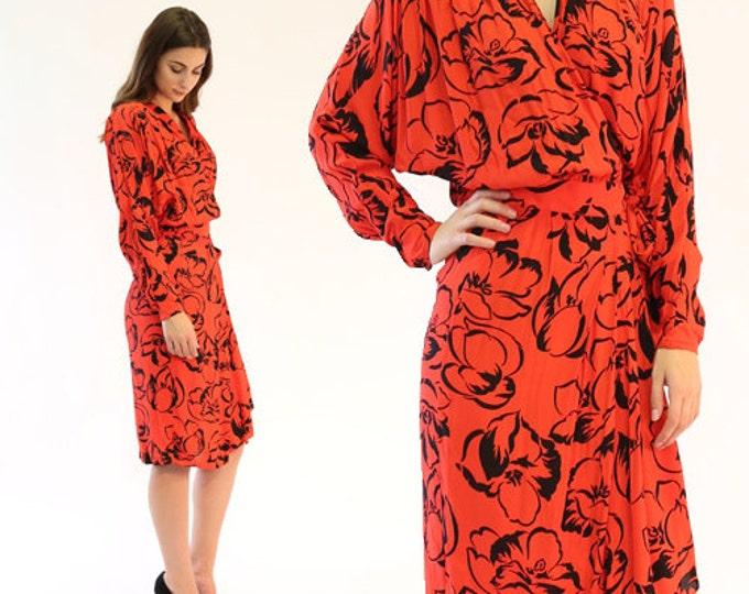 Tropez floral wrap midi | Vintage 80s red floral dress dress | deadstock