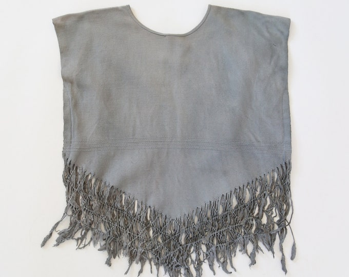 Fringe cotton top | Vintage 70s ethnic woven cotton fringe poncho