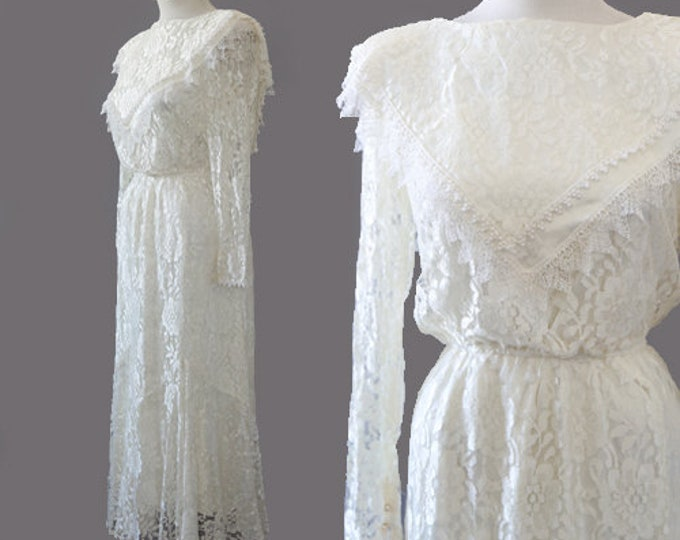 Bid lace wedding dress | Vtg 90s floral lace wedding dress