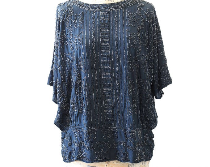 French silk beaded blouse | Vintage 20s SILK glass beaded DECO French dress Top Blouse