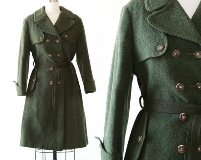Forrest green Mohair coat | Vintage 50s wool mohair trench coat jacket