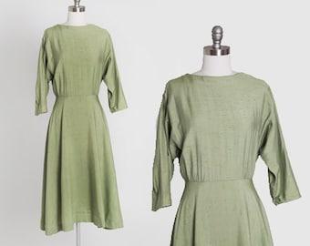 Sage swing dress   Vintage 50s green textured mini dress   1950s polished cotton dress