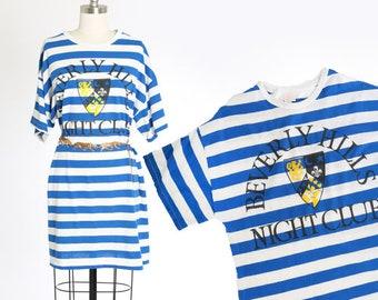 80s Beverly Hills Night Club shirt dress | 1980s striped long shirt