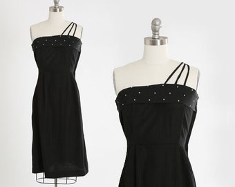 Rhinestone dress | Vintage 40s black party dress | 1940s black single strap dress
