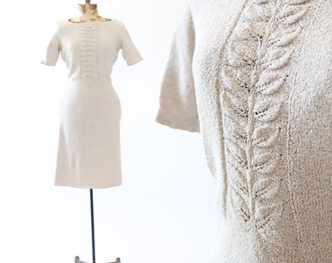 Feuille Dress | Vintage 30s crochet Knit midi dress