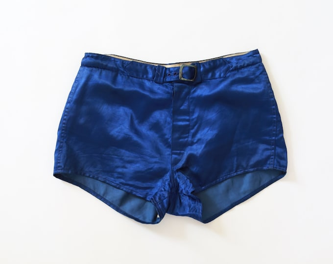 Vintage 30 40s blue satin Basketball Uniform athletic boxing Shorts