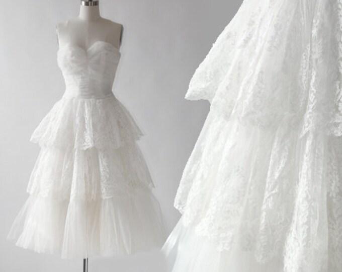 Corrine wedding dress | Vintage 50s floral lace tiered wedding dress | Vintage 50s wedding gown