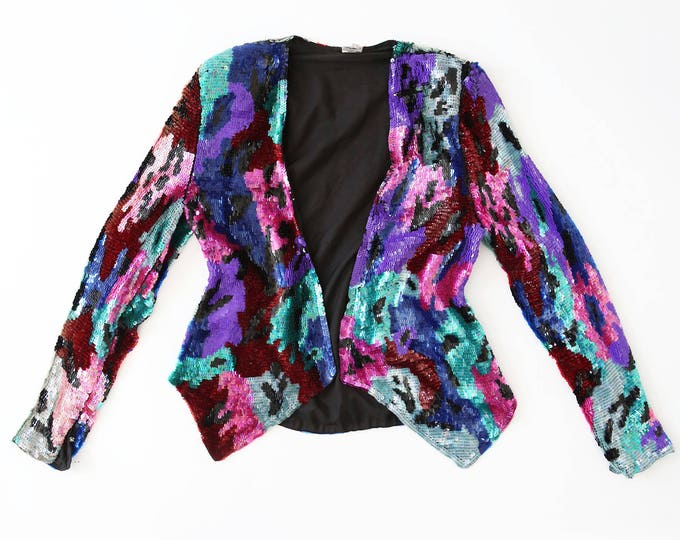 impressionist sequin blazer | Vintage 80s full sequin abstract SILK cropped dress coat jacket Blazer S