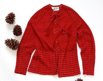 Miss JoAnn crochet sweater   Vintage 70s hand knit cardigan