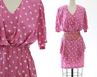 Cœur peplum dress | Vintage 90s Sonja Modelle  French heart dress