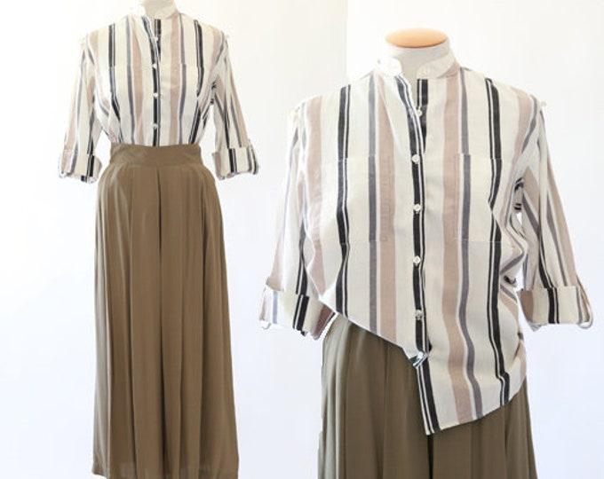 Striped cotton blouse | 70s cotton top