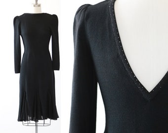 St. John knit dress   Vintage 70s 80s St. John jeweled silk dress