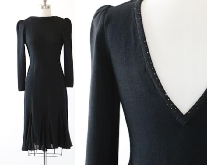 St. John knit dress | Vintage 70s 80s St. John jeweled silk dress