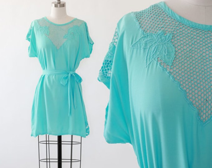 Turquoise Bali crochet Dress | Bali Cutwork Floral Lace Sundress