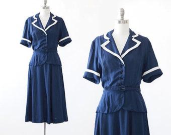 40s Sailor suit | Vintage 1940s I. Magnin sailor suit dress | Sailor 2pc dress skirt