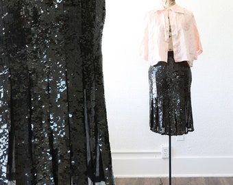 Sequin flapper skirt | Vintage 70s 20s silk Sequin deco Flapper skirt L
