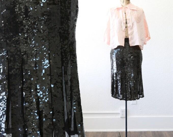Sequin flapper skirt | Vintage 70s 20s silk Sequin deco Flapper skirt L