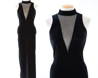 Vamp velvet dress | Vintage 90s Inky velvet maxi dress