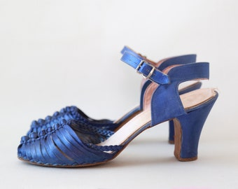 40s blue satin pumps | Vintage 40s braided heels | 7 7 1/2