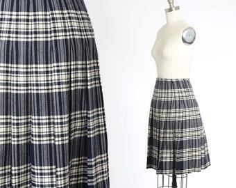 Rally Klad wool skirt | Vintage 70s blue plaid wool tartan skirt | 1970s Scottish wool skirt