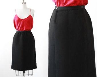 Double zip skirt | Vintage 60s black knit wool skirt | 1960s pencil skirt