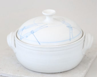 Vintage stoneware dragonfly lidded casserole dish signed studio art pottery