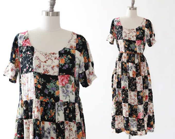 90s floral patchwork rayon dress