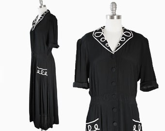 Karin Midi dress | Vintage 90s 40s black rayon midi dress | black + white dress