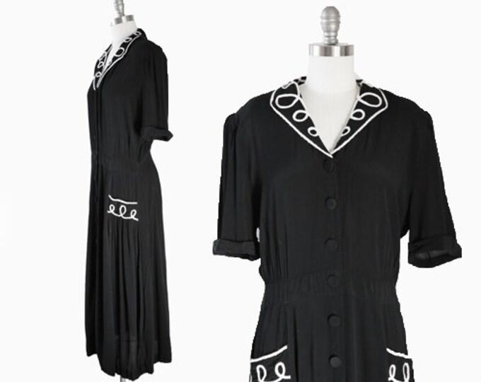 Karin Midi dress   Vintage 90s 40s black rayon midi dress   black + white dress