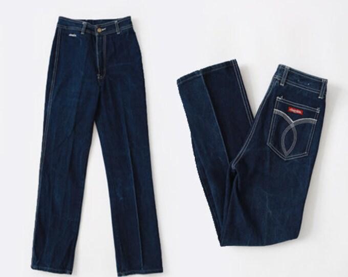 70s Levis  | Vintage 70s Chardon French jeans  | Dark indigo straight leg high waist jeans | France Chardon Jeans W25