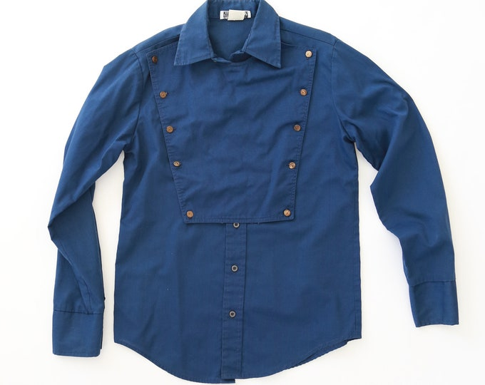 Vintage 70s Western Wear blue bib shirt