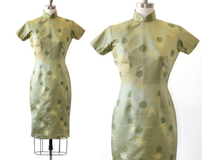 Vintage 50s Cheongsam green silk floral brocade Oriental dress | qipao dress
