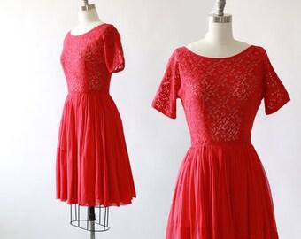 McKettrick crochet dress |  Vintage 50s crochet floral chiffon midi dress | 1950s red mini dress