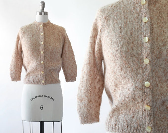 Vintage 40s cropped knit Mohair wool cardigan sweater | 1940s cardigan