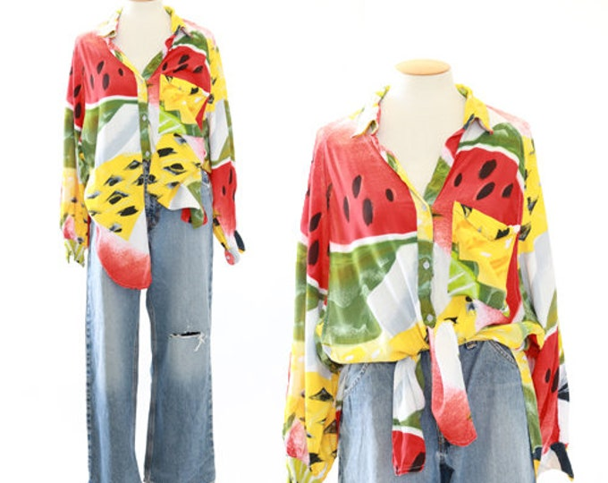 Phool watermelon Top | Vintage 80s High Low fruit blouse