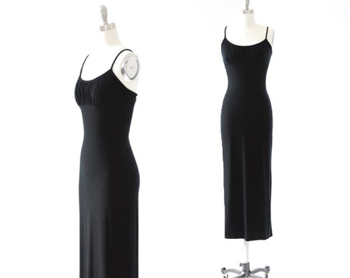 Hot Kiss velvet dress | Vintage 90s Inky black velvet maxi dress | Backless maxi dress