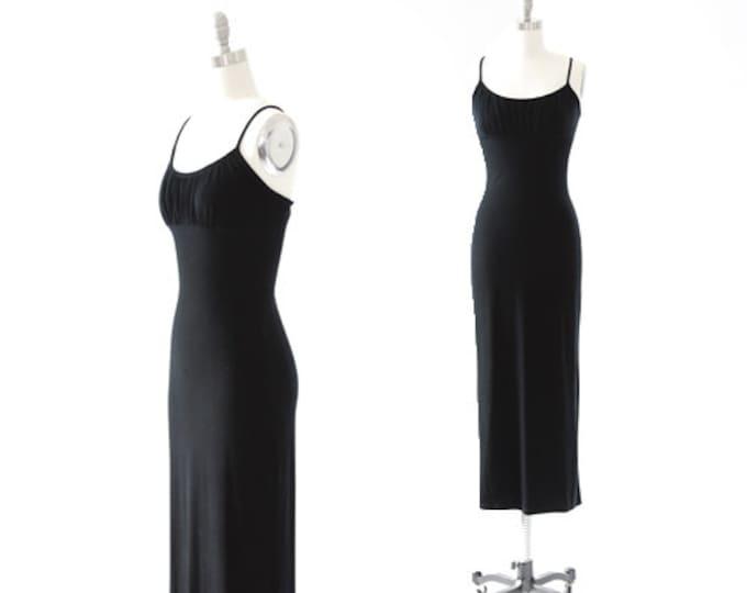 Hot Kiss velvet dress | Vintage 90s Inky black velvet maxi dress | Backless maxi dress