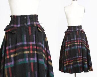 Italian plaid skirt | Vintage 80s 50s rainbow plaid wool skirt | 1980s deadstock Italian wool full skirt
