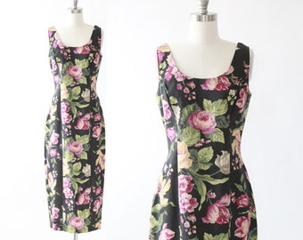 Forla wiggle dress | Vintage 90s woven floral maxi dress | autumn black floral dress