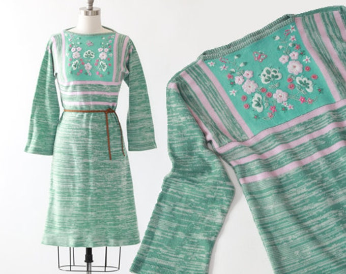 Space dyed sweater dress | Vintage 70s floral embroidered knit dress | sweater dress