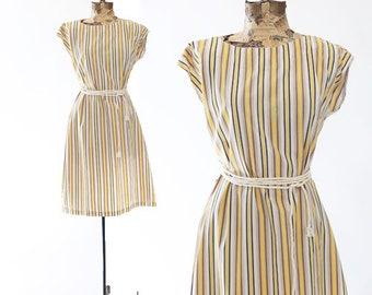 Pool party cotton dress | Vintage 60s yellow striped dress