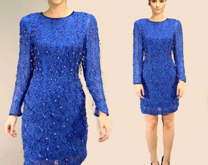Deco blue silk mini dress | Vintage 80s FRINGE beaded sequin Silk DECO mini Dress S