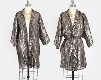 Vintage 80s metallic lame kimono robe