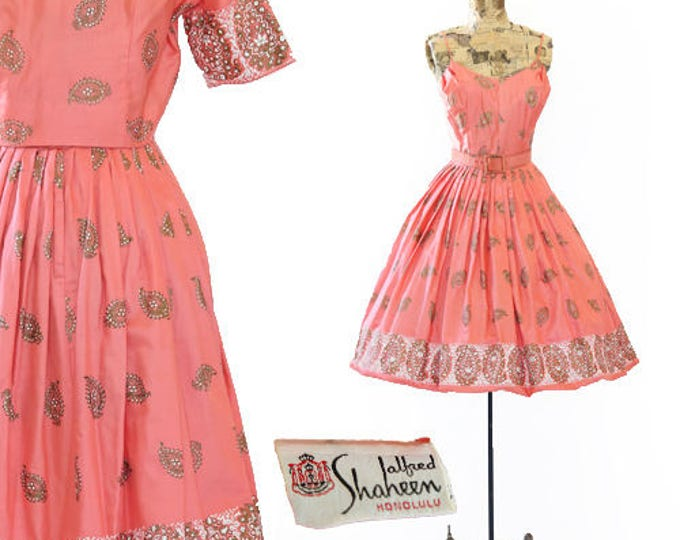 Alfred Shaheen Dress | Vtg 50s Alfred Shaheen Hawaiian dress | Coral Pink Tiki hand painted SARI PAISLEY dress