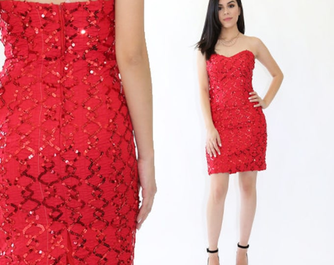 Red sequin mini dress | Vintage 80s zigzag Sequin Sweetheart Cocktail Party Wedding mini dress Xs