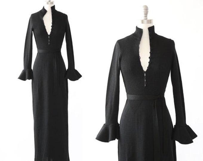 Witchy knit dress | Vintage 70s black knit ruffle maxi dress | Plunging deep V knit dress