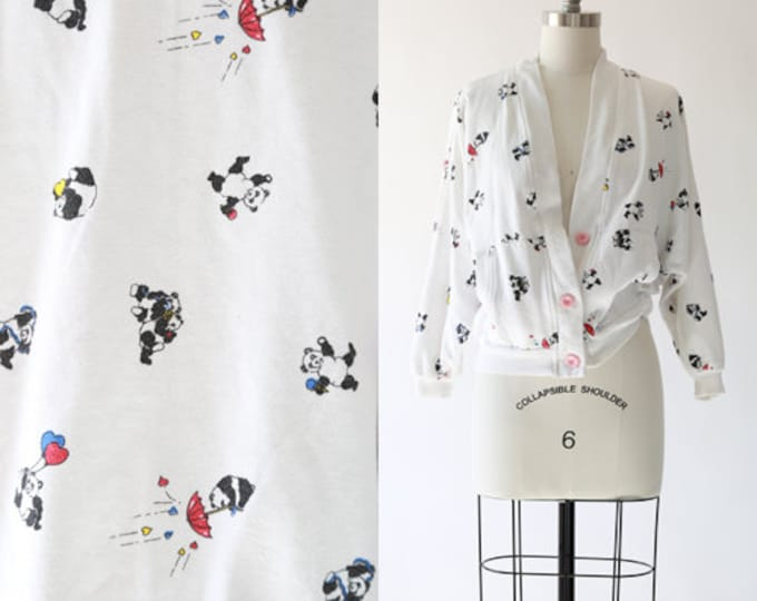 Panda Bear sweater | Vintage 80s panda cardigan | Novelty print sweater
